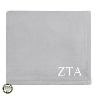 Vellux Plush Grey Zeta Tau Alpha Monogram Blanket