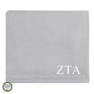 Vellux Plush Grey Zeta Tau Alpha Monogram Blanket