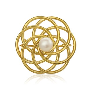 Pearlyta Yellow Gold over Sterling Silver Twisted Brooch with Pearl Center