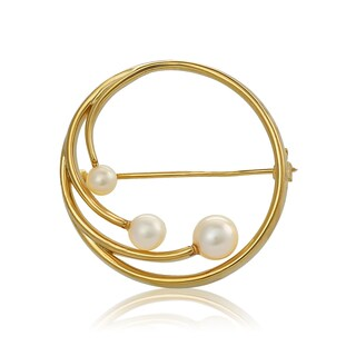 Pearlyta Yellow Gold over Sterling Silver Round Vintage Look Brooch