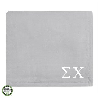 Vellux Plush Grey Sigma Chi Monogram Blanket
