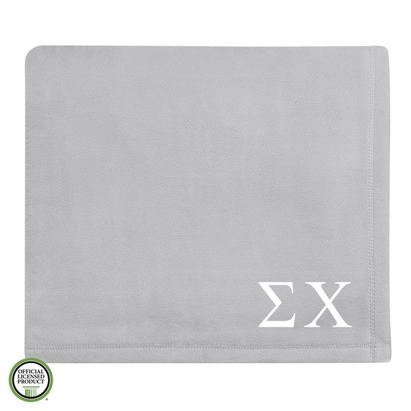 Vellux Plush Grey Sigma Chi Monogram Blanket