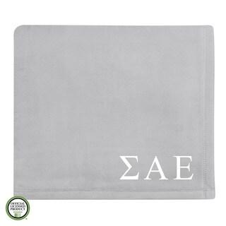 Vellux Plush Grey Sigma Alpha Epsilon Monogram Blanket