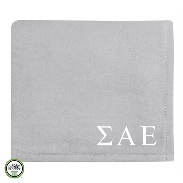Vellux Plush Grey Sigma Alpha Epsilon Monogram Blanket