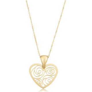 Fremada Italian 18k Yellow Gold Filigree Heart Necklace (18 inches)