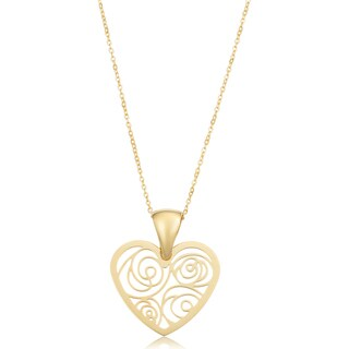 Fremada Italian 18k Yellow Gold Filigree Heart Necklace (18 inches)