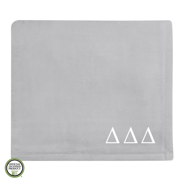 Vellux Plush Grey Delta Delta Delta Monogram Blanket