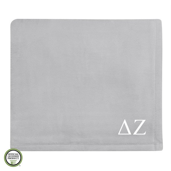 Vellux Plush Grey Delta Zeta Monogram Blanket