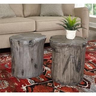 Hunter Grey Tree Stump Accent Table