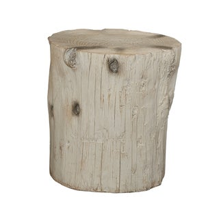 Hunter White Tree Stump Accent Table