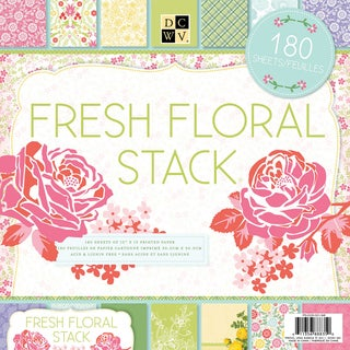 "DCWV Paper Stack 12""X12"" 180/Sheets-Fresh Floral, 60 Designs/3 Each"