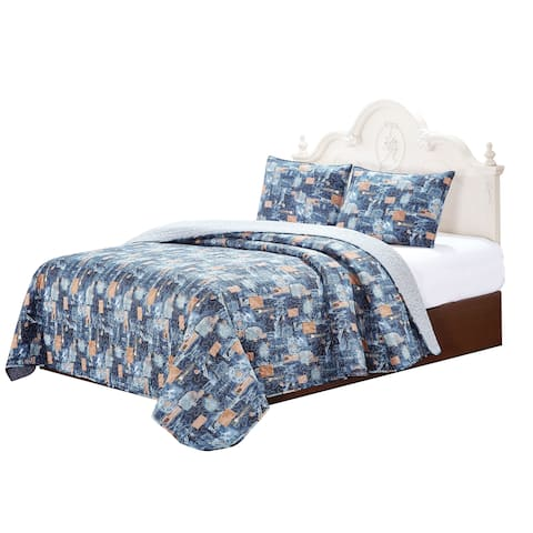 Blue Jeans Printed Quilt Set