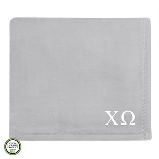 Vellux Plush Grey Chi Omega Monogram Blanket