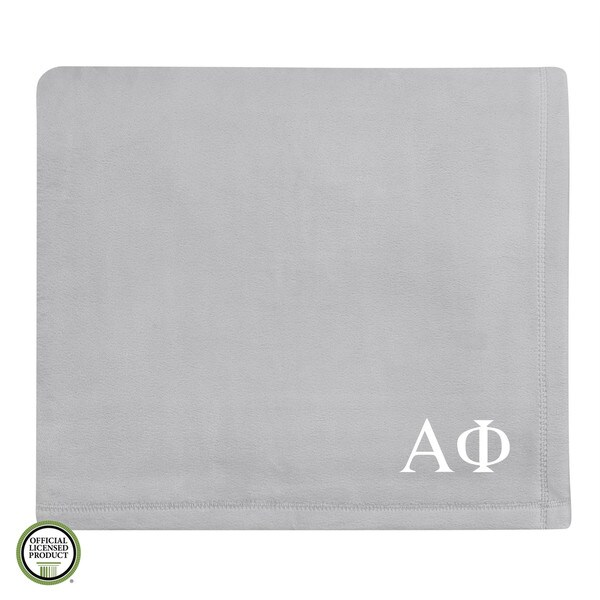 Vellux Plush Grey Alpha Phi Monogram Blanket