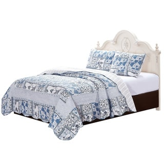 Melissa Blue and White Floral Quilt Set