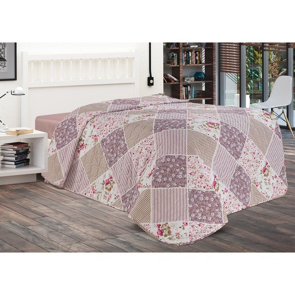 Chiara Rose Patchwork Lilac 1 Piece Quilt Coverlet