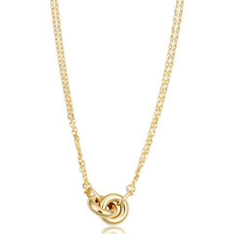 Fremada Italian 18k Yellow Gold Double Strand Infinity Rings Necklace (18 inches)