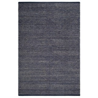 Fab Habitat 100% Recycled Cotton Flat Weave Handwoven Floor Mat Area Rug Waterloo Denim 2' X 3' (India)