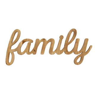 Stratton Home Décor Family Natural Wood Script Wall Art