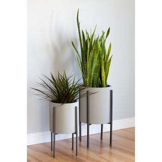 Tania Grey Metal Mid-Century Planters (Set of 2)