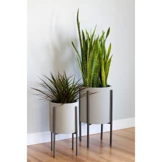 Tania Grey Metal Mid-Century Planters (Set of 2)