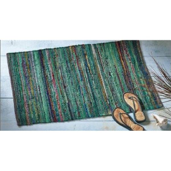 Shop TAG Paanee Teal Stripe Chindi Indoor/Outdoor Rug