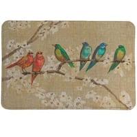 Laural Home Birds in Bloom Memory Foam Rug