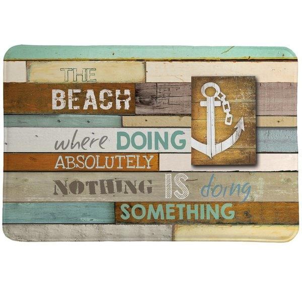 Laural Home Beach Motto Memory Foam Rug