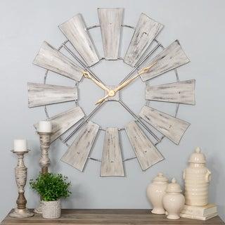 White Metal Farmhouse Windmill Wall Clock