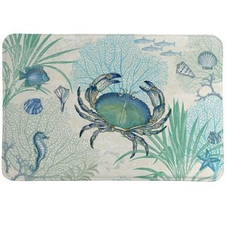Laural Home Blue Creature of the Sea Memory Foam Rug
