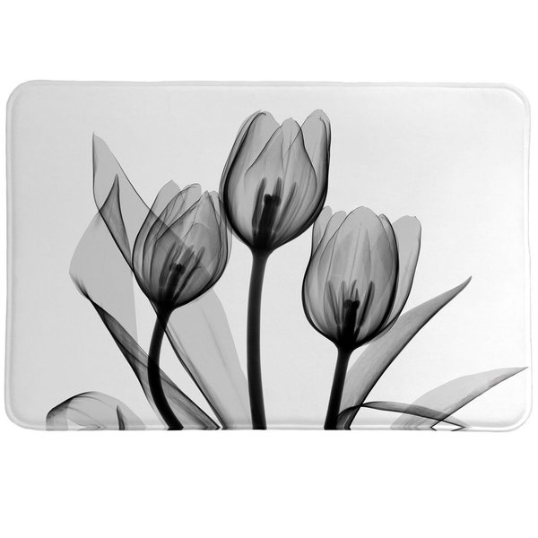 Laural Home X-Ray Monochromatic Tulips Memory Foam Rug