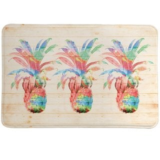 Laural Home Watercolor Pineapples Memory Foam Rug