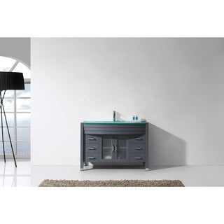 Virtu USA Ava 48-inch Glass Single Bathroom Vanity Set with No Mirror and Faucet Option