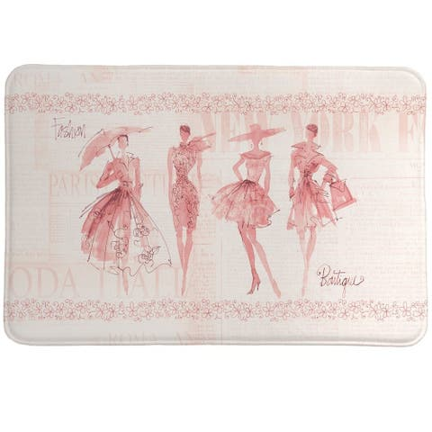 Laural Home Pink Fashion Divas Memory Foam Rug