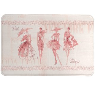 Laural Home Pink Fashion Divas Memory Foam Rug