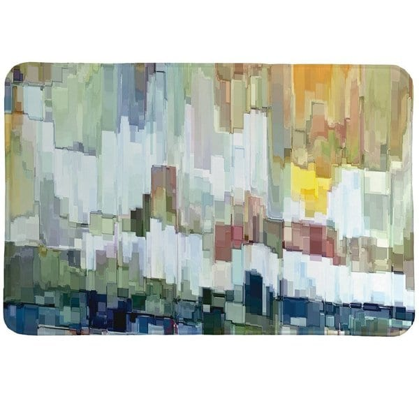 Laural Home Abstract Brush Strokes Memory Foam Rug