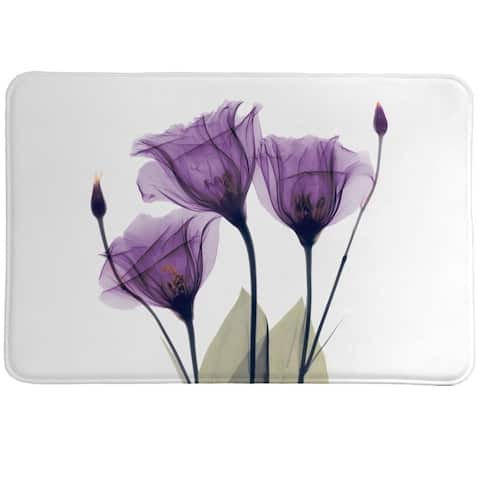Laural Home Lavender Floral X-Ray Memory Foam Rug