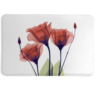 Laural Home X-Ray Gentian Red Flower Memory Foam Rug