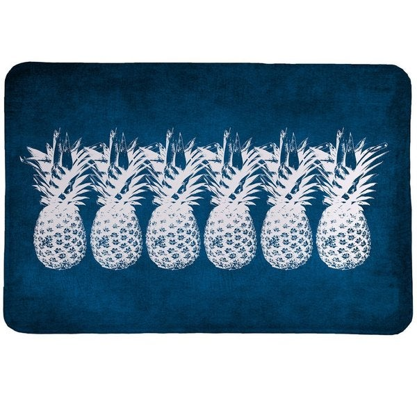 Laural Home Blue and White Pineapple Memory Foam Rug