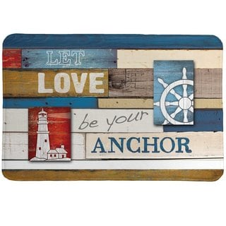 Laural Home Nautical Words Memory Foam Rug