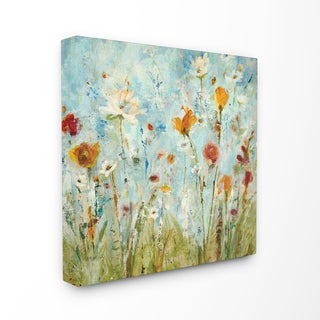 Abstract Summer Wildflowers Stretched Canvas Wall Art