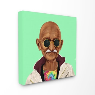 HIPSTORY Hipster Mahatma Gandhi Stretched Canvas Wall Art
