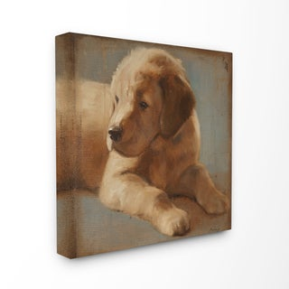 Vintage Golden Puppy Stretched Canvas Wall Art