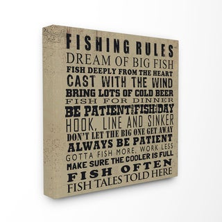 Fishing Rules Typography Stretched Canvas Wall Art