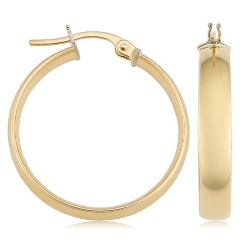 Fremada Italian 18k Yellow Gold Hoop Earrings, 1""