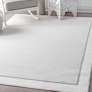 nuLOOM Causal Simplicity Soild Striped White Rug (5'3 x 7'6)