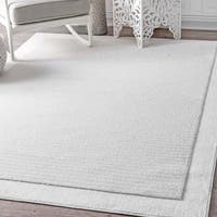nuLOOM Causal Simplicity Soild Striped White Rug (8' x 10')