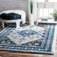 nuLOOM Traditional Vibrant Diamond Medallion Floral Border Blue Shag Rug - 8' x 10'