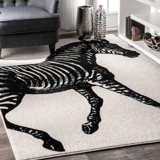 nuLOOM Made by Thomas Paul Wild Zebra Black and White Rug (5' x 8')