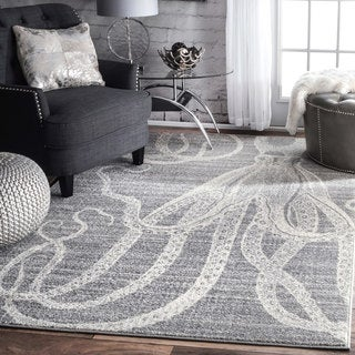 nuLOOM Made by Thomas Paul Faded Seaside Octopus Stripes Grey Rug (5' x 8')